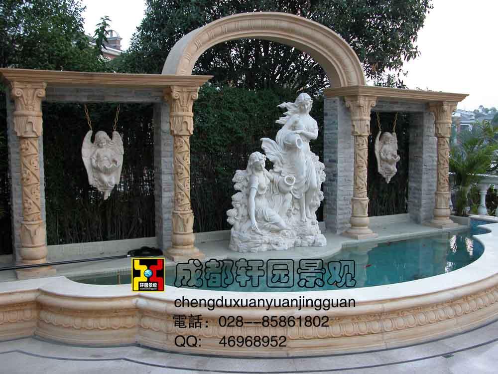 欧式景观雕塑-景观小品地标-轩园案例-成都轩园景观